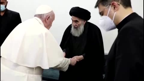 Pope bids farewell to top Shi'ite cleric