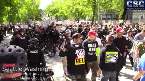 Proud Boys And Patriot Prayer Face Off With AntiFa And Get Glittered