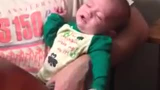 Baby literally cries himself to sleep