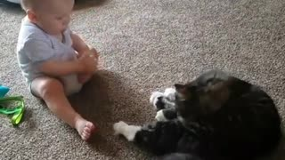 Baby Tries to Lick Toes Like Cat