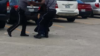 Suspect Resisting Arrest In Mall Parking Lot - Video