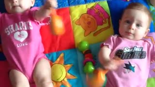 Twin babies shake mariachi rattles in unison - Video