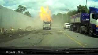 Truck Brake Failure Leads to Fiery Crash - Video