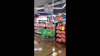 Woman throws groceries across store after being told to wear a mask