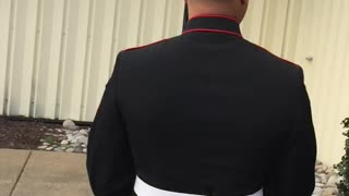 Marine Surprises Girlfriend at Work with Early Arrival
