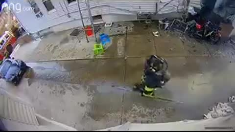 Doorbell camera catches moment firefighter is knocked out by falling AC unit