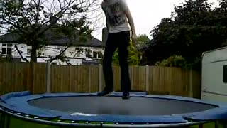 White shirt backflip trampoline head