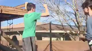 Kid green shirt trampoline backflip hit heads trampoline fail