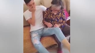 """The Funny Grandma Trying To Sew A """"Torn"""" Style Pants of Her Grandchild - Video"""