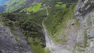 Wingsuit flying through the 'Crack' Gorge in Switzerland - Video