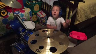 Toddler tries out new jam block