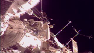 Space Station Cosmonauts take a Walk in Space