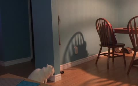 Cat loves to play hide-and-seek with little girl