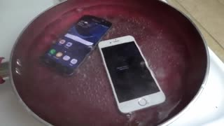 Samsung galaxy s7 with iphone 6s in boiling watter - Unbelievably - Video