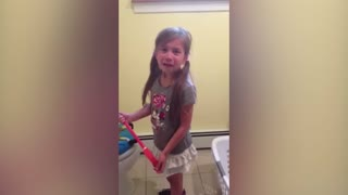 Little Girl Says Her Final Goodbyes To Her Favorite Toilet - Video