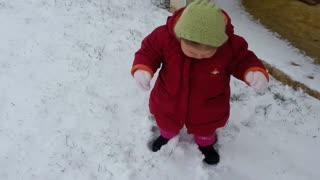Baby's first steps in the snow result in an adorable fail - Video
