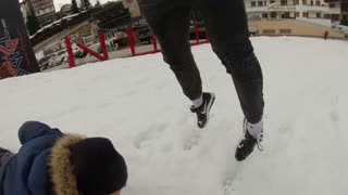 Sledding under my friend - Video