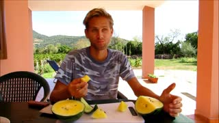 Eating homemade yellow watermelon for the first time - Video