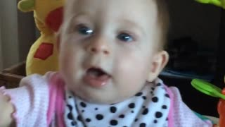 Cute baby imitates mom's noises