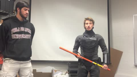 Real-life Batsuit tested against iron pipe