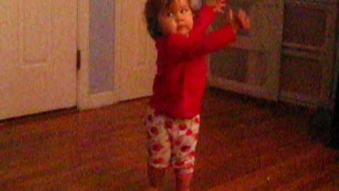 Funny toddler dances to music