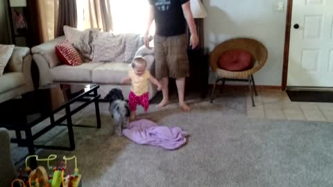 Daddy mimics toddler's crazy running