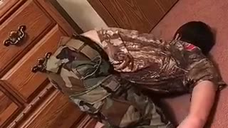 Guy camo faceplants on  floor drunk - Video