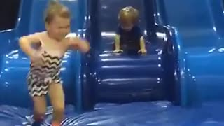 Collab copyright protection - toddler boy face plants blue slide - Video