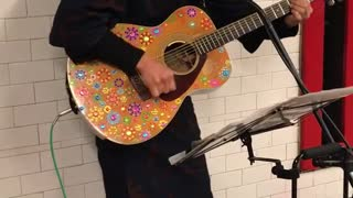 Basket head man plays glitter guitar on subway