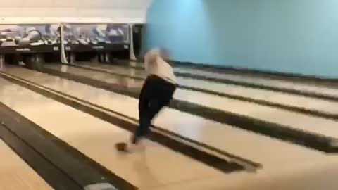 In Attempt To Show Off Guy Chucks Bowling Ball Backwards Into Retriever