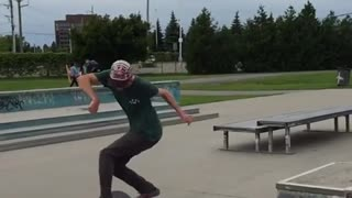 Collab copyright protection - skateboarding jump over rail ankle - Video