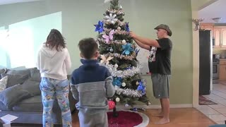 Decorating the Christmas Tree | Walmart artificial tree | Family Christmas Tree