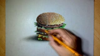 Drawing time lapse: Realistic 'Big Mac' - Video