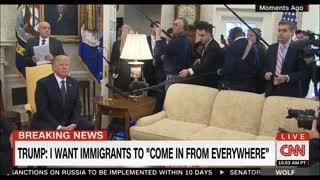 Trump Uses One Finger to Toss Reporters Out of White House Press Conference - Video