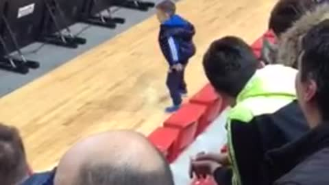 Precious Boy Has A Dance Off With The Cheerleaders During Match