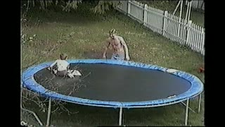Shirtless Guy Backflips Himself Off Of A Trampoline - Video