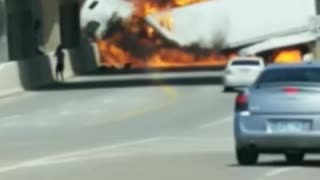 Semi in Flames on the Highway