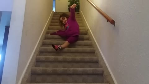 Adorable Girl Demonstrates How To Ballet Down The Stairs