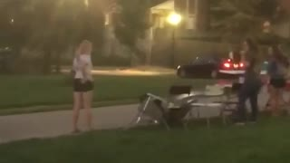 Guy brown shirt drinks beer and breaks random table - Video