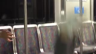 Guy falls on subway pole - Video