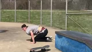 Backwards mustache hat skate fail - Video