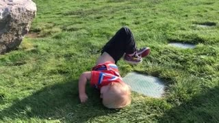 Collab copyright protection - boy jumps off rock and face plants