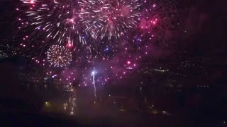Drone Flying into Fireworks in  Northumberland - Video