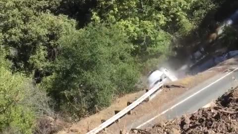 Truck Slides down Mountainside