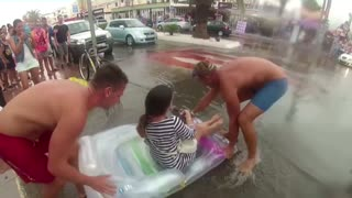 Transporting people on the streets of Ibiza after the big rain