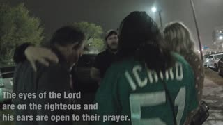 Praying with a group of people