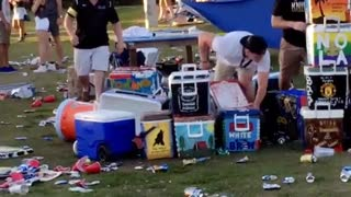 Man runs into water coolers - Video