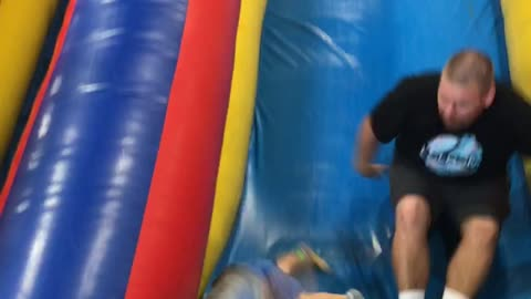Baby wipes out at bottom of slide