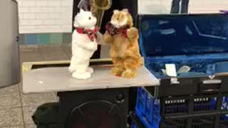 Man plays sax stuffed toys dance - Video