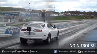 Insane 1500HP 6 speed SUPRA rips down the dragstrip! - Video